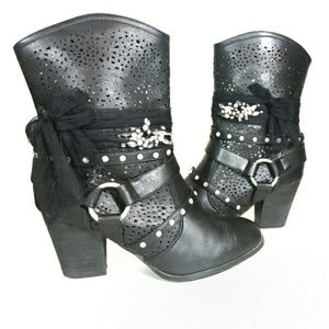 Joan Boyce Black Bling Ankle Boots